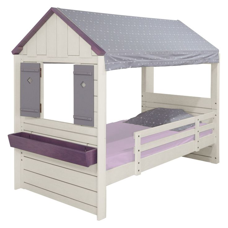 lit cabane enfant garden bois blanc bross. Black Bedroom Furniture Sets. Home Design Ideas