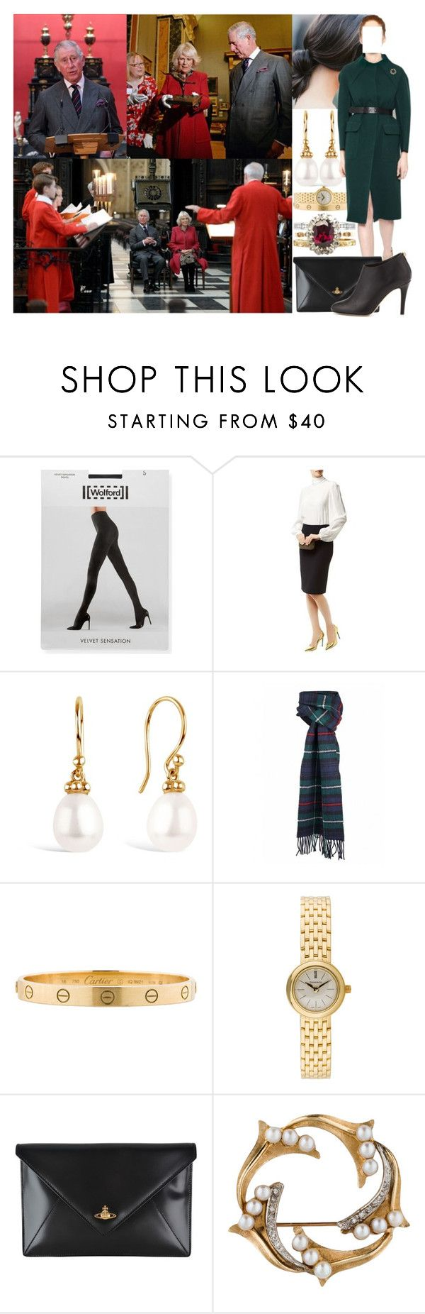 """""""Visiting the University of Cambridge's Fitzwilliam Museum to mark its bicentenary and to celebrate the 600th anniversary of the Cambridge University Library and visiting King's College Cambridge to listen to a rehearsal by King's College Choir"""" by marywindsor ❤ liked on Polyvore featuring Wolford, Alexander McQueen, Cartier, Tiffany & Co., Orla Kiely, Vivienne Westwood and Jimmy Choo"""