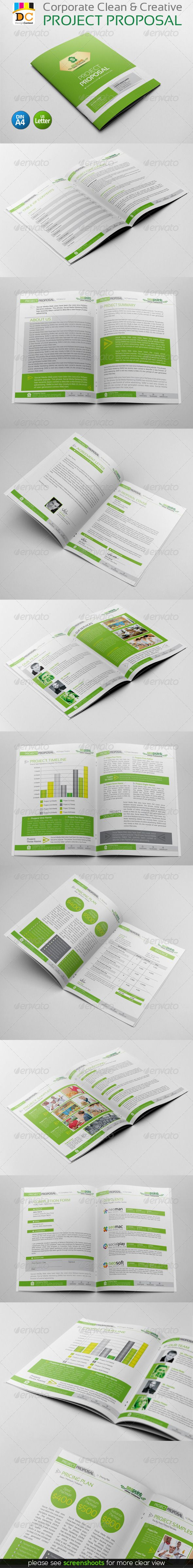 Corporate Creative Clean Project Proposal 18 pages