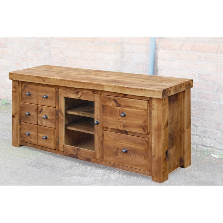 Denby Rustic Plank 8 Drawer Large TV Plasma Unit - TV Stands - Living Room Furniture4yourhome