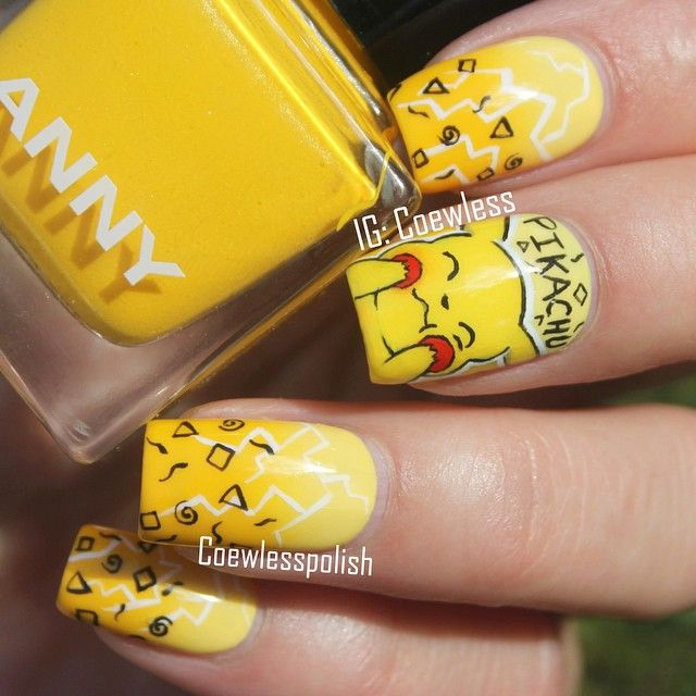 Instagram media by coewless - Pikachu #nail #nails #nailart
