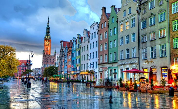 narrow dutch houses of old town after a rain shower... Gdansk, Poland