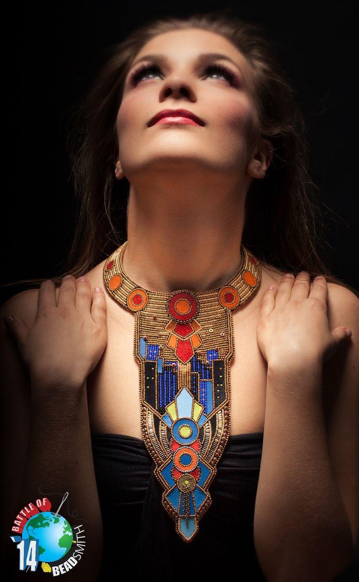 Tipika Grażyna Antoń Time Machine - bead embroidery, necklace for the Battle of Beadsmith 2014; phot. Paheli;  www.polandhandmade.pl #polandhandmade, #beadwork, #necklace