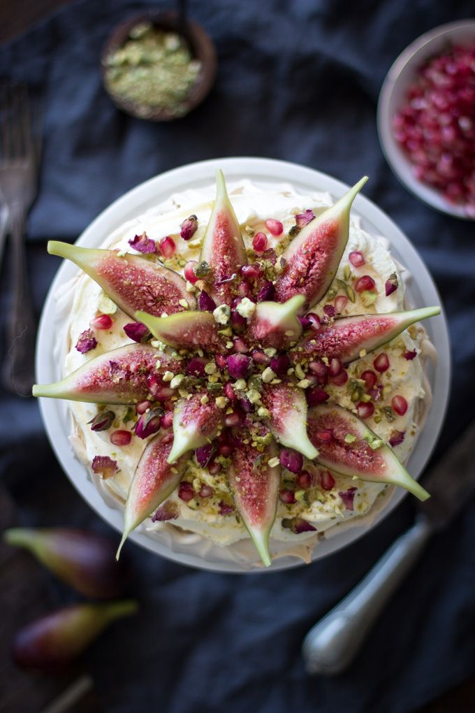 Arabian inspired brown sugar pavlova with figs and pistachios via matters of the belly