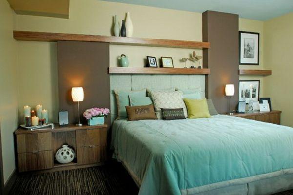 tête de lit avec rangement, étagères en bois