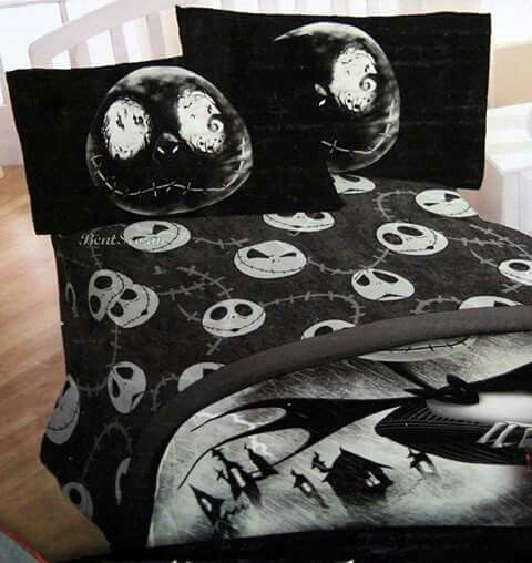 Nightmare before christmas bed sheets duvet pillows skeleton jack