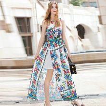Высокого класса длинные платья с цветами 2016 осень новый Американский Европейская мода взлетно-посадочной полосы рукавов бальное платье элегантный макси платье(China (Mainland))