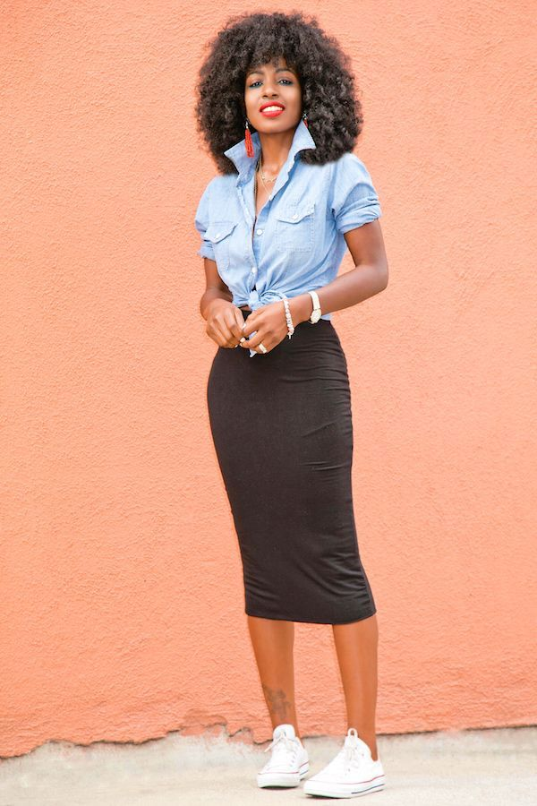 Chambray Shirt + Stretch Pencil Skirt