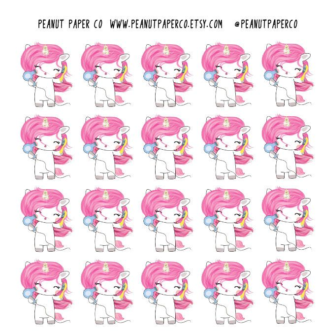 Hair Care Unicorn, Erin Condren Stickers, Happy Planner Stickers, Bullet Journal Stickers by PeanutPaperCo on Etsy