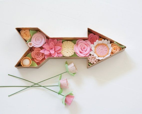 Felt Flower Arrow  Home Decor  w/ mini by SugarSnapBoutique