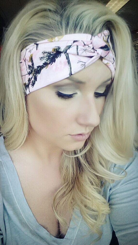 PINK Realtree Camo headband, stretch cotton twist headband camouflage on Etsy, $20.00