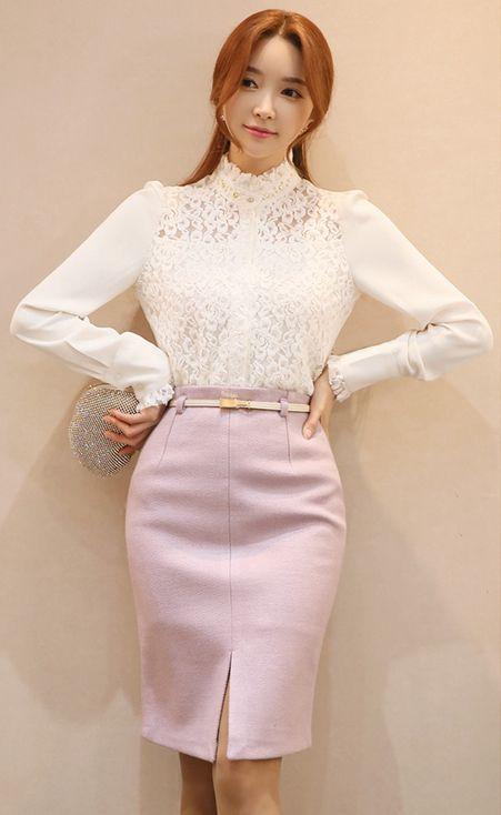 StyleOnme_Front Slit Belted H-Line Skirt #pink #lavender #front #slit #pencilskirt #koreanfashion #feminine #girly #formal #elegant #wintertrend #kstyle #seoul #datelook