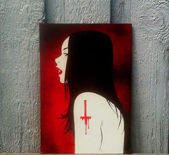 Lilitu Red  Original Handmade Stencil Artwork by DrStencil on Etsy