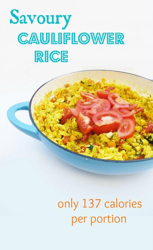 Cauliflower rice. 137 cal