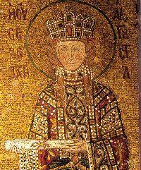 Irene di Bisanzio come ci appare nel mosaico del XII secolo nella chiesa di Santa Sofia ad Istanbul. Nata nel 752 ad Atene, fu sposa dell'imperatore Leone IV e madre di Costantino VI. Alla morte del marito assunse la reggenza per il figlio. Avversa all'iconoclastia, convocò a Nicea il VII concilio ecumenico, che dichiarò tale dottrina eretica.. Nel 791, all'ascesa al trono del figlio, fu allontanata da corte, ma nel 797, fattolo uccidere, tornò a regnare, fino alla rivolta di palazzo…