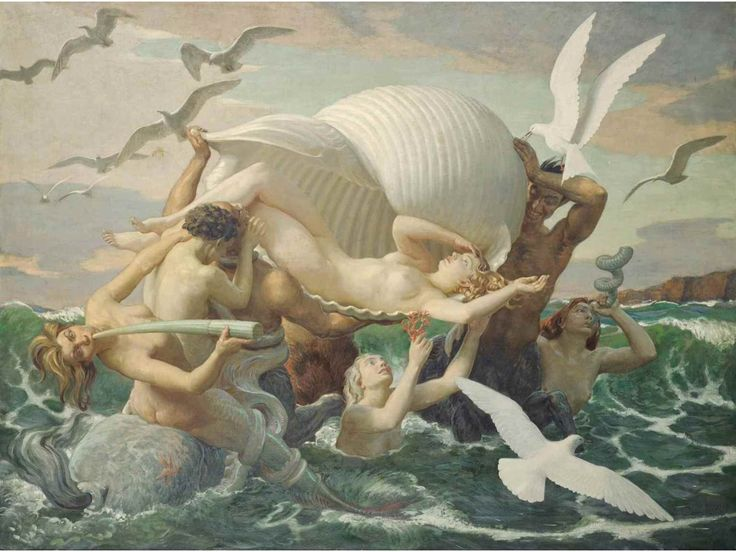 songesoleil:  The birth of Venus. Oil on Canvas. 137.2 x 182.8 cm.  Art by John Bulloch Souter.(1890-1972).