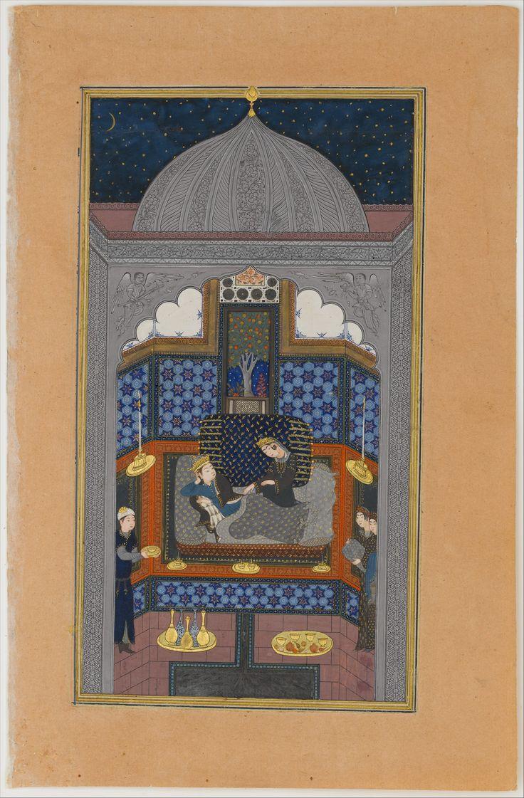 """Bahram Gur and the Indian Princess in the Dark Palace on Saturday"", Folio 23v from a Haft Paikar (Seven Portraits) of the Khamsa (Quintet) of Nizami Author: Nizami (Ilyas Abu Muhammad Nizam al-Din of Ganja) (probably 1141–1217) Calligrapher: Maulana Azhar (d. 1475/76)  ca. 1430, Herat"
