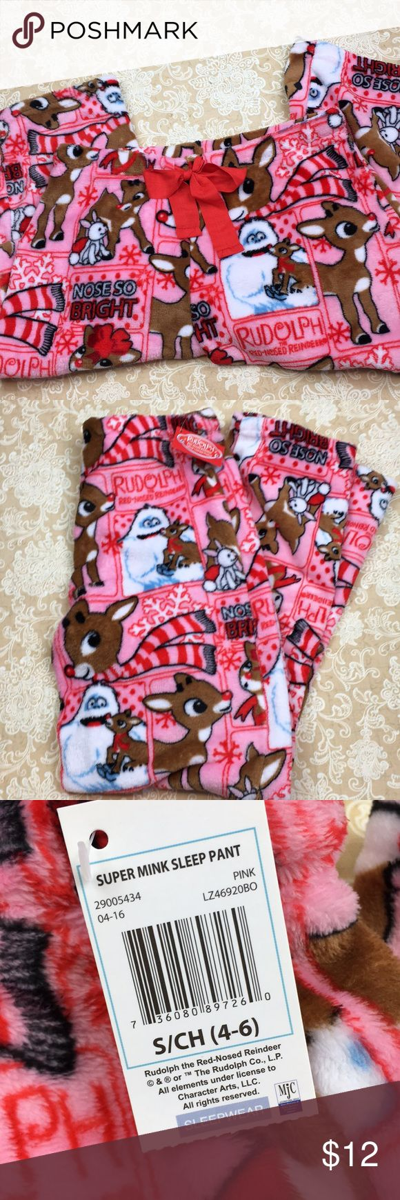 "🆕 Rudolf The Red Nose Reindeer Pajama Pants Super soft rudolf the red nose reindeer pajama pants. 100% polyester.  New with tags. Perfect for gift giving! Size 4/6.  Waist measured flat 15"" and inseam 30"" PT LOC-13 Rudolf Red-Nosed Reindeer Intimates & Sleepwear Pajamas"