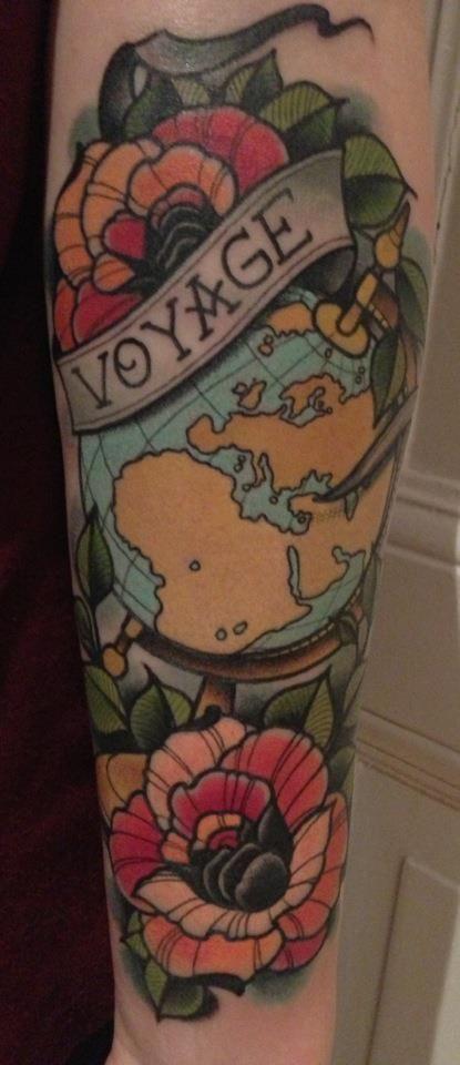Voyage travel tattoo world globe flowers arm ink tattoos