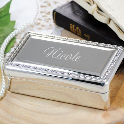 This elegant jewelry box makes an elegant bridesmaid gift.  Each can be engraved with your choice of name or a three letter monogram. The lid opens to a mirror and velvet lining inside with two compartments and padded rolls for rings.