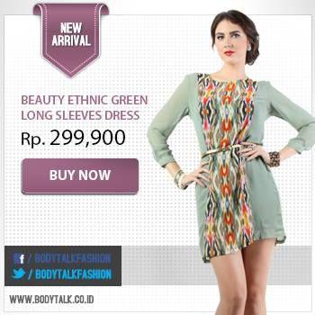 Koleksi Terbaru! Beauty Ethnic Green Long Sleeves Drees now available on: www.bodytalk.co.id