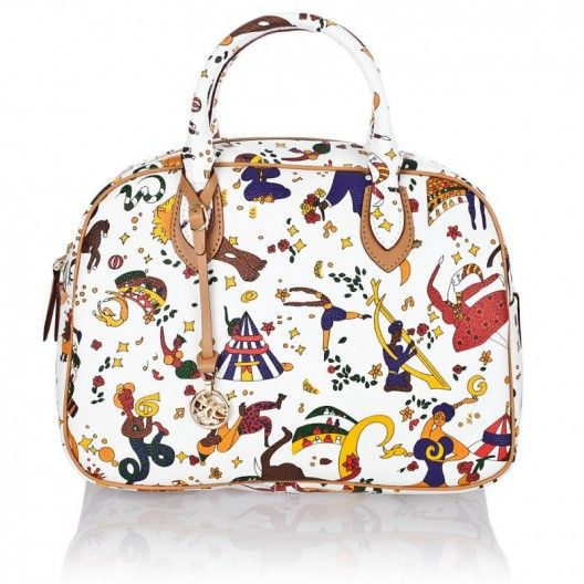 PIERO GUIDI BAG MAGIC CIRCUS WHITE  Piero Guidi Satchel in Magic Circus embossed fabric, white colour, metal finishings, genuine leather trimmings, two handles, internal Multiangel lining with pocket and mobile holder, zipper fastening. Made in Italy