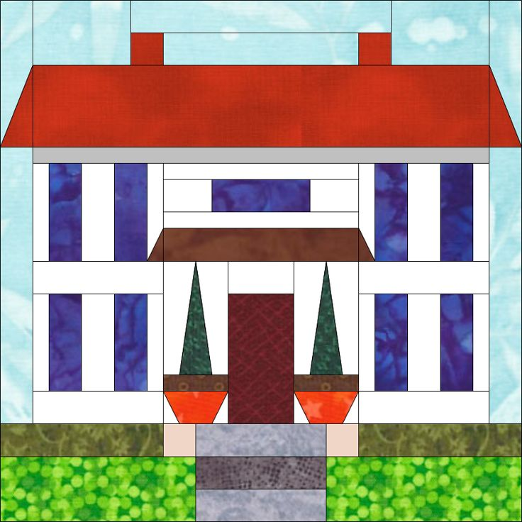 House 1 Patriotic Houses (paper pieced) quiltartdesigns ...