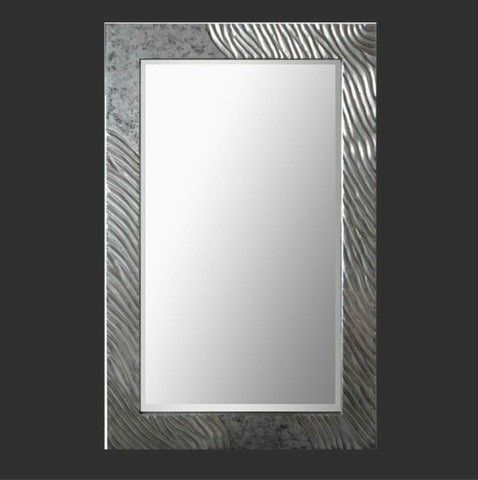 Ancient ripple 3d wall art beautiful mirror in a polished silver frame