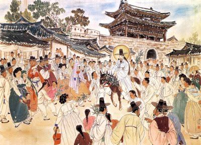 Jesus Enters Jerusalem (Palm Sunday), by Kim Ki-chang #koreanjesus
