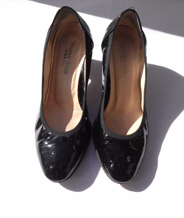 TARYN ROSE Women's Black Patent Leather Pumps Classic Shoes Size 36