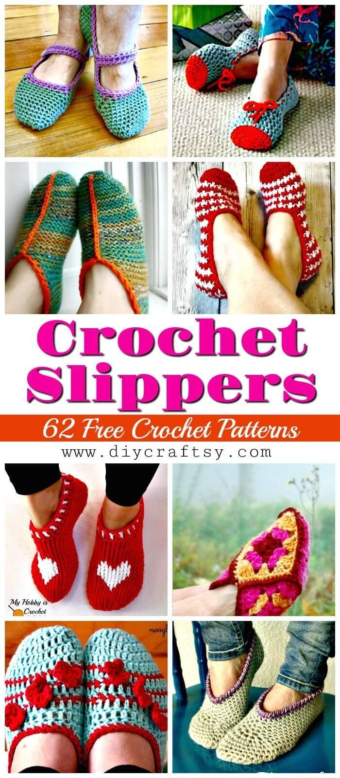 Crochet Slippers Pattern- 62 Free Crochet Patterns