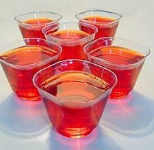 Wine Jello Shots - This recipe says 1/2 cup of wine for 2 packages of jello and 2 cups of boiling water. When I make liquor jello shots, I use 1 cup boiling water, 1 package of jello, and 1 cup of liquor. I'll probably change their recipe to how I usually make it. Can't wait to try!