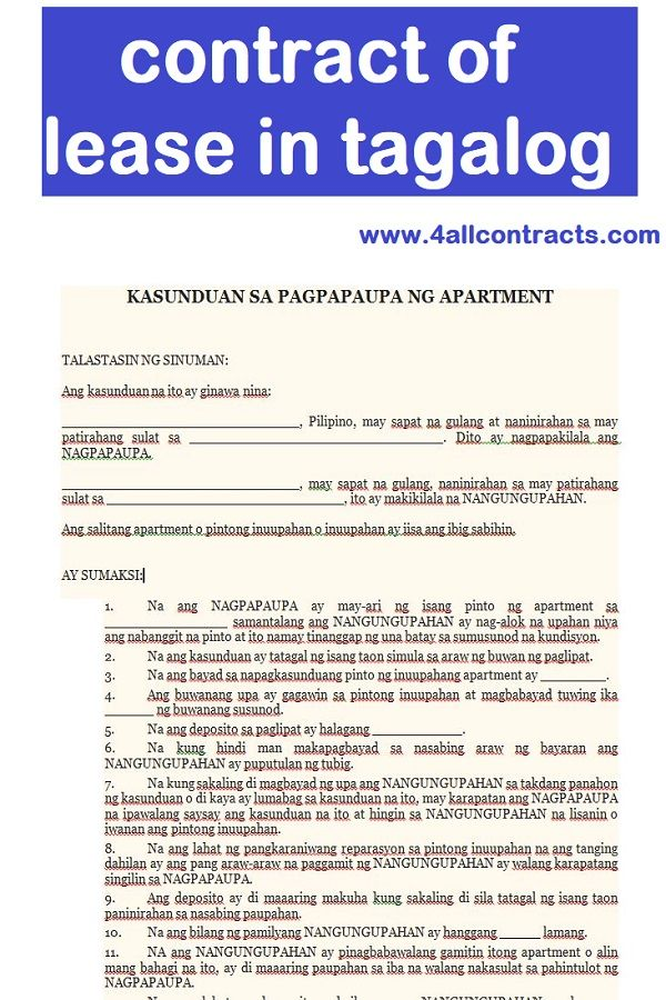 Contract Lease In Tagalog Rental Agreement Templates Contract Tagalog