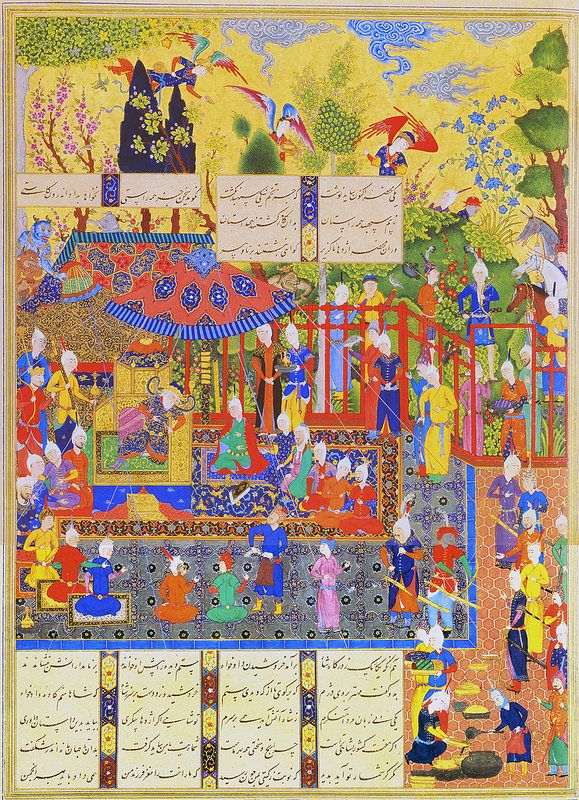 Kave Tears Zahhak's Scroll (Abu'l Qasim Firdausi (935–1020 CE Persian): Shahnama (Book of Kings) (Shah Tahmasp) -Qadimi (ca. 1525–65 CE Persian (?) Painter)) (Tehran Museum of Contemporary Art, Iran)