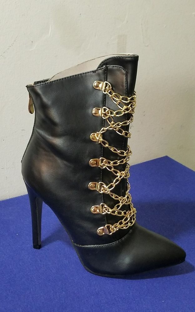 New Ladies shoes,Sexy Black Bootie with Gold Chains size 6.5 #Dress #Club Party #CapeRobbin #Booties #Casual
