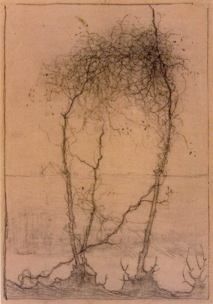 Jan Mankes, drawing, Drie omrankte boomstammetjes