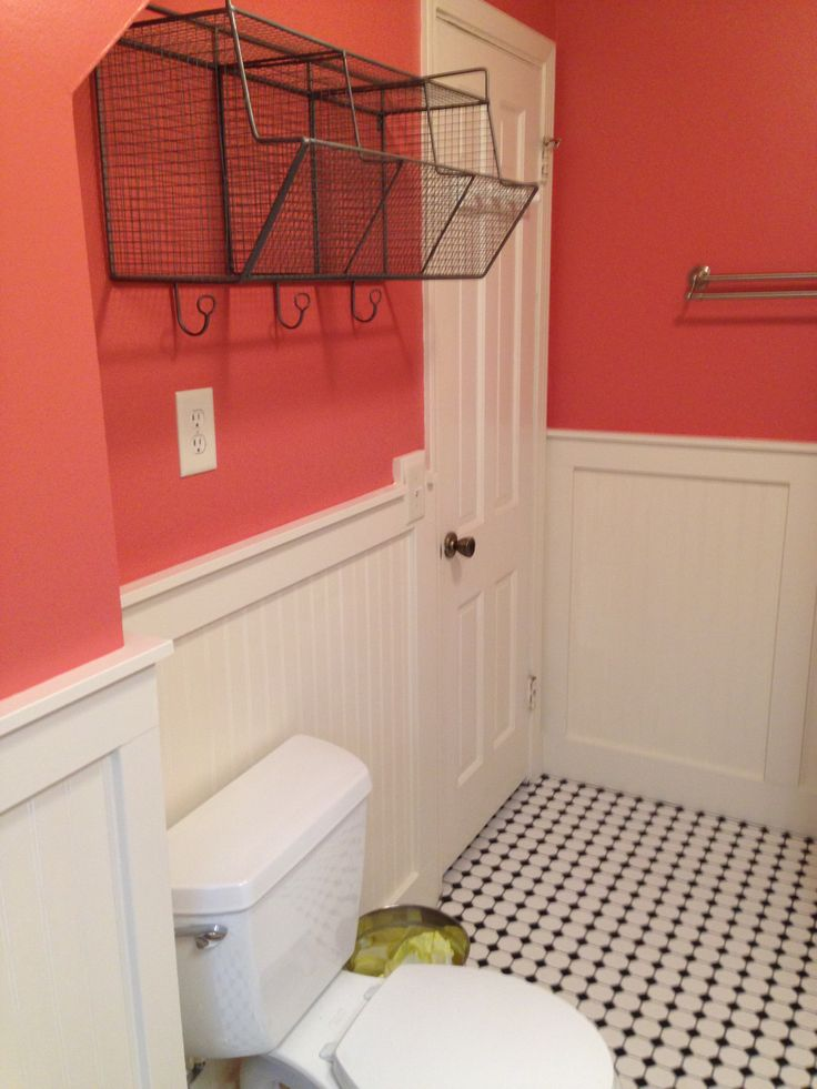 I Added This Coral Color And Wire Basket From World Market. Cape Cod  BathroomRemodeling IdeasBathroom RemodelingWire ...