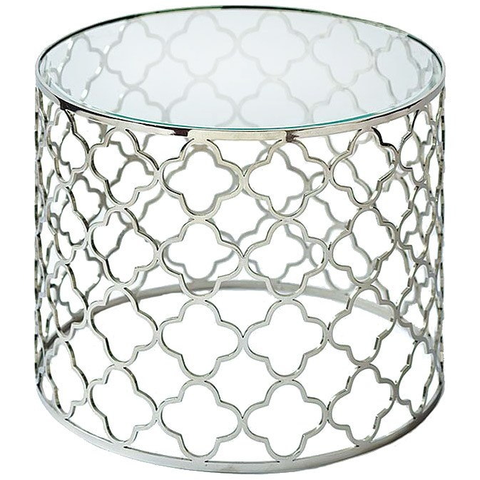 Regina Andrew Designs - Brushed nickel quatrefoil pattern table with a beveled glass top.: Glasses Tops, Nickel Glasses, Side Tables, Regina Andrew, Tops Tables, Brushes Nickel, End Tables, Accent Tables, Brushed Nickel