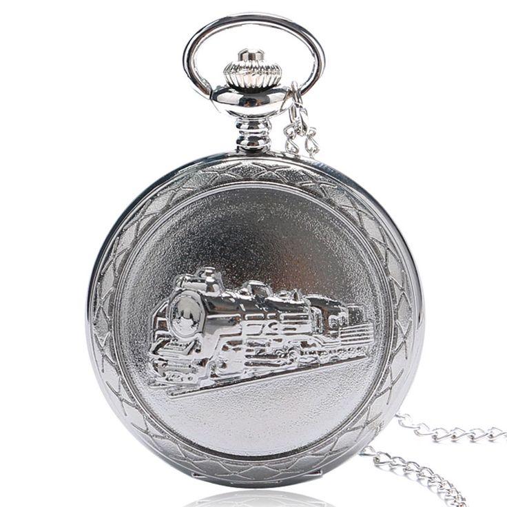 Thanksgiving Gift Retro Vintage Locomotive Train Charm Silver Quartz Pocket Watch Necklace For Women Men Dropshipping Free Ship