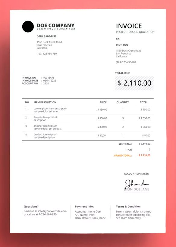 Invoice Business With Clean Style By Afahmy On Envato Elements Invoice Layout Invoice Design Invoice Template