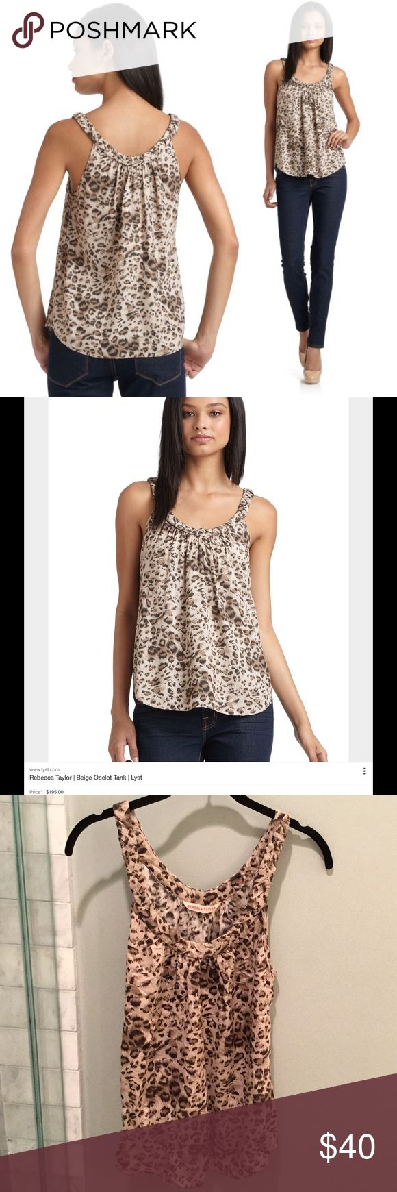 Rebecca Taylor Animal Print Cami Rebecca Taylor Ocelot Leopard Animal Print Camisole. Size 2, fits like an XS or a smaller busted small. 100% Rayon. Excellent condition. Retail $195 Rebecca Taylor Tops Camisoles