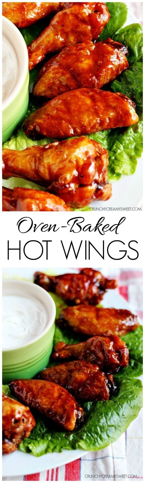 Oven-Baked Hot Wings - healthier version for the hot wing lovers! Chicken wings baked in the oven to a crispy perfection and tossed in a sweet and spicy sauce.