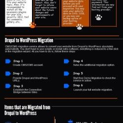 This infographic will help you to perform your Drupal to Wordpress migration with ease and free of hassles. You'll be able to check all the pre and po