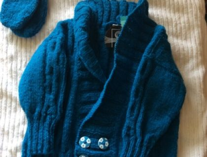 Turquoise Blue double-breasted cardigan