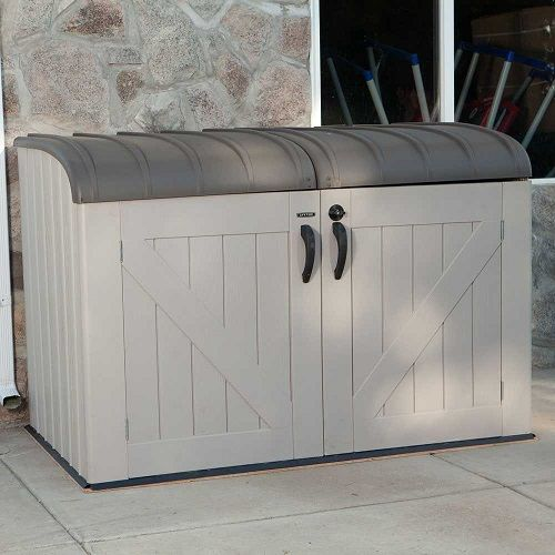 Outdoor Garbage Storage Shed Bin Looking to clean up the looks of your yard? Are you tired of the neighborhood seeing or smelling your garbage? This 60088 Garbage Can Storage Garage Bin is designed to make your yard look crisp and clean. Use it to store mowers and other garage items you want to protect from the elements.