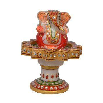 Amazon.com: Religious Gift God Ganesha Statue in Marble Revolving Base: Home & Kitchen