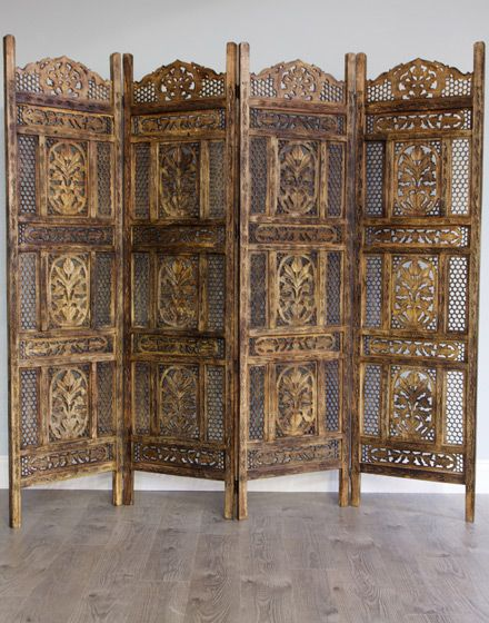 Arabian Style Wooden Screen / Room Divider Antique Finish : Moroccan Bazaar