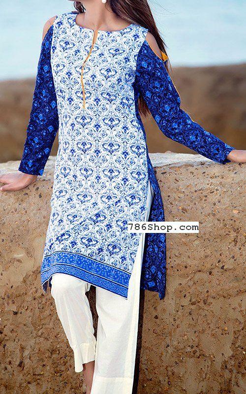 White/Blue Lawn Suit   Buy Bonanza Dresses