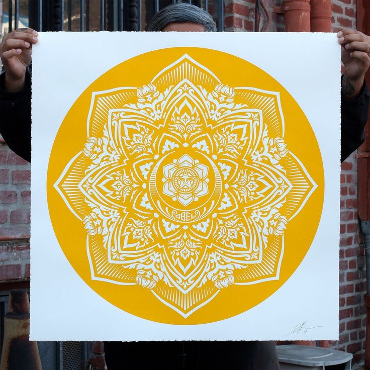 "A print from Obey Giant and Art of Elysium Yellow MandalaLarge Format2018 By Shepard FaireyDimensions :30""x30""Screenprint on white 100% Cotton Rag Arc... #large #format #elysium #obey #limited #print #fairey #yellow #mandala #shepard"