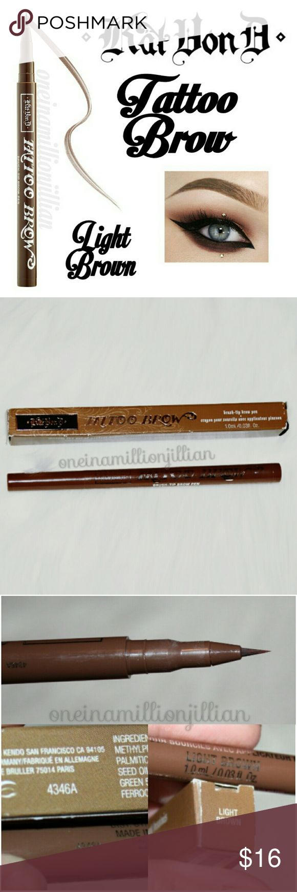 Kat Von D Tattoo Brow Pen - Light Brown New in Box  Full Sz & Authentic  Color: Light Brown  An innovative liquid brow liner with a precision brush tip so you can build natural to bold brows  Discover the makeup artist's secret to a naturally gorgeous face: sculpted, architectural brows. It took Kat 5 years to finalize the formula in a range of long-wear, natural-looking shades that won't fade or discolor. A compact brush tip imparts optimum control & precision so you can define arches with…